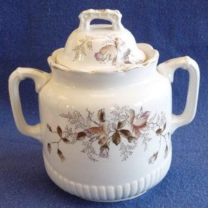 antique ironstone sugar bowl moss rose pink large